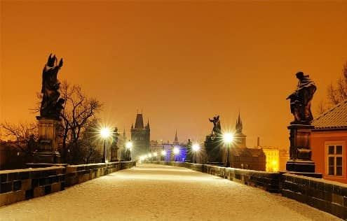 The Charles Bridge in winter